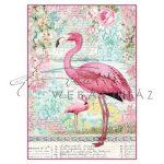 Dekupázs rizspapír A4 - Rózsaszín falamingó