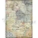 Dekupázs rizspapír A4 - Térképek