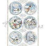 Dekupázs rizspapír A4 - Karácsonyi körminták, kékszínű
