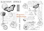 Kreatív hobby - Transzfer papír, 2 ív A4 - Lepkés levelezőlapos minta