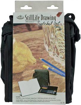 Rajzkészlet - Csendélet rajzolás készlet fém ceruzatartóval és válltáskával