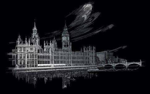 Kreatív hobby - Karckép készlet, 36x28 cm - London, Big Ben