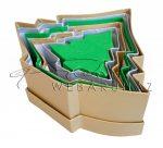 Papírdoboz készlet tetővel, színes, fenyőfa alakú, 6 db-os, arany, ezüst, zöld