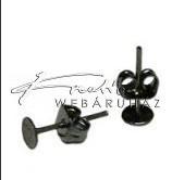 Stiftes Fülbevaló Ragasztható, Fekete (4 mm)