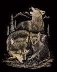 Kreatív hobby - Képkarc készlet - Arany - Farkascsalád