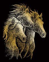 Kreatív hobby - Képkarc készlet - Arany - Lovak