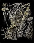 Kreatív hobby - Képkarc készlet - Arany - Leopard a fán