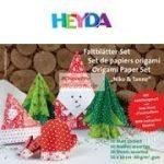 Origami papír - Karácsonyi hajtogató készlet - Fenyőfa és Mikulás, 15x15 cm