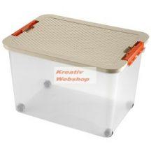 Tároló doboz - Műanyag háztartási tárolódoboz tetővel, 45 literes - Újra kapható