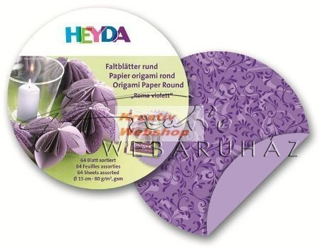 Origami papír - Lila Róma Origami papír, kör 15 cm