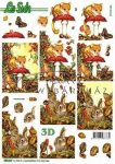 Őszi nyuszi pillangóval és gombával, előre kivágott Fázisos 3D képek