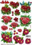 Piros virágok, előre kivágott Fázisos 3D képek