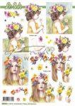 Kislányok virágkoszorúval, előre kivágott Fázisos 3D képek
