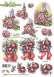 Karácsonyfa díszek virággal, előre kivágott Fázisos 3D képek