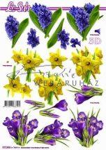 Kék, lila és sárga virágok, Fázisos 3D