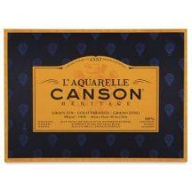 CANSON Héritage merített, savmentes akvarellpapír-tömb 100 % pamutból, (4 oldalt ragasztott)  20 ív, finom 36 x 51 cm
