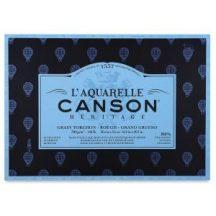 CANSON Héritage merített, savmentes akvarellpapír-tömb, 300gr 100 % pamutból, (4 oldalt ragasztott)  20 ív, érdes 23 x 31 cm