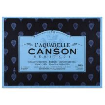 CANSON Héritage merített, savmentes akvarellpapír-tömb, 300gr, 100 % pamutból, (4 oldalt ragasztott)  20 ív, érdes 26 x 36 cm