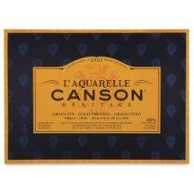 CANSON Héritage  merített, savmentes akvarellpapír-tömb 100 % pamutból, (1 oldalt ragasztott)  12 ív, finom 26 x 36 cm