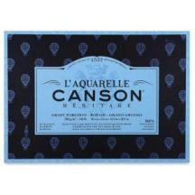 CANSON Héritage  merített, savmentes akvarellpapír-tömb, 300gr, 100 % pamutból, (1 oldalt ragasztott)  12 ív, érdes 26 x 36 cm