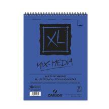 """CANSON  """"XL"""" MIX-MEDIA természetes fehér enyhén szemcsés rajzpapír-tömb, rajz és akv. pap. röv. old. spirálkötött, mikroperforált 300g/m2 15 ív A5"""