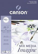 """CANSON """"Imagine"""" savmentes, természetes fehér, síma rajzpapír-tömb, rövid old. ragasztott, minden technikához 200g/m2 25 ív A1"""