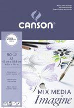 """CANSON """"Imagine"""" savmentes, természetes fehér, síma rajztömb, rövid old. ragasztott, vegyes technikához 200g/m2 50 ív A2"""