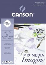 """CANSON """"Imagine"""" savmentes, természetes fehér, síma rajzpapír-tömb, rövid old. ragasztott, minden technikához 200g/m2 50 ív A3"""