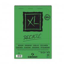 """CANSON  """"XL""""  RECYCLE, természetes fehér, újra hasznosított, savmentes rajzpapír-tömb, röv.old. spirálkötött, mikroperforált    160g/m2 50 ív A3"""