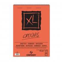 """CANSON  """"XL""""  CROQUIS savmentes, csontfehér skiccpapír-tömb  rövid oldalán spirálkötött, mikroperforált 90g/m2 60 ív A2"""