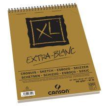 """CANSON """"XL""""  EXTRA BLANC, extra fehér, savmentes, skiccpapír-tömb, rövid oldalán spirálkötött, mikroperforált 90g/m2 120 ív A3"""