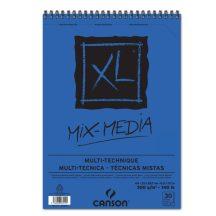 """CANSON  """"XL"""" MIX-MEDIA természetes fehér enyhén szemcsés rajzpapír-tömb, rajz és akv. pap. röv. old. spirálkötött, mikroperforált 300g/m2 30 ív A4"""