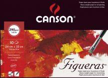 FIGUERAS tömb, savmentes olaj- és akrilfestő papír, vászonjellegű felülettel, (rövid oldalán ragasztott) 290g/m2 10 ív 24 x 33