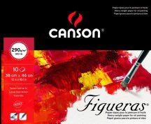 FIGUERAS tömb, savmentes olaj- és akrilfestő papír, vászonjellegű felülettel, (rövid oldalán ragasztott) 290g/m2 10 ív 38 x 46