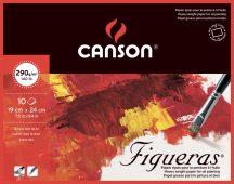 FIGUERAS tömb, savmentes olaj- és akrilfestő papír, vászonjellegű felülettel, (4-oldalt ragasztott) 290g/m2 10 ív 19 x 24
