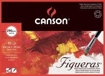 FIGUERAS tömb, savmentes olaj- és akrilfestő papír, vászonjellegű felülettel, (4-oldalt ragasztott) 290g/m2 10 ív 24 x 33