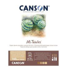 Mi-Teintes CANSON, savmentes színes pasztelltömb, kétoldalas barna árnyalatos, 24x32 cm