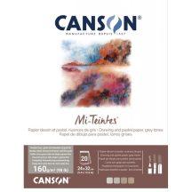 Mi-Teintes CANSON, savmentes színes pasztelltömb, (rövid oldalán ragasztott) 160g/m2 20 lapos, kétoldalas szürke árnyalatos, 24 x 32