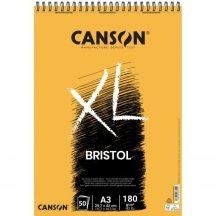 """CANSON  """"XL""""  BRISTOL extra- fehér, sima rajztömb, spirálkötéses, mikroperforált 180g/m2 50 ív A3"""