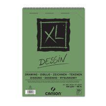 """CANSON  """"XL""""  DESSIN, természetes fehér, savmentes rajzpapír-tömb, rövid oldalán spirálkötött, mikroperforált 160g/m2 50 ív A3"""