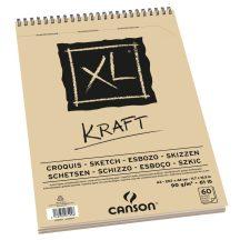 """CANSON  """"XL""""  KRAFT, natúr barna színű csomagoló jellegű rajzpapír-tömb, rövid oldalán spirálkötött, mikroperforált 90g/m2 60 ív A3"""