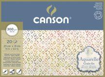 Aquarell CANSON, savmentes akvarellpapír,  100 % pamutból , tömb 20 ív 4-oldalt ragasztott, 300 gr, finom, 23x31 cm
