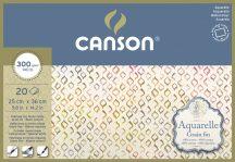 Aquarell CANSON, savmentes akvarellpapír,  100 % pamutból , tömb 20 ív 4-oldalt ragasztott, 300 gr, finom, 25x35 cm