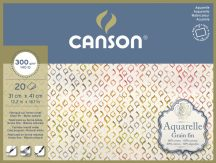 Aquarell CANSON, savmentes akvarellpapír,  100 % pamutból , tömb 20 ív 4-oldalt ragasztott, 300 gr, finom, 31x41 cm