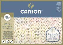 Aquarell CANSON, savmentes akvarellpapír,  100 % pamutból , tömb 20 ív 4-oldalt ragasztott, 300 gr, finom, 36x50 cm