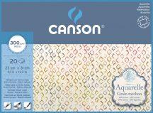 Aquarell CANSON, savmentes akvarellpapír,  100 % pamutból , tömb 20 ív 4-oldalt ragasztott, 300 gr, érdes, 23x31 cm