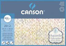 Aquarell CANSON, savmentes akvarellpapír,  100 % pamutból , tömb 20 ív 4-oldalt ragasztott, 300 gr, érdes, 25x35 cm