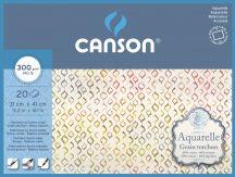 Aquarell CANSON, savmentes akvarellpapír,  100 % pamutból , tömb 20 ív 4-oldalt ragasztott, 300 gr, érdes, 31x41 cm