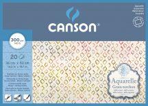 Aquarell CANSON, savmentes akvarellpapír,  100 % pamutból , tömb 20 ív 4-oldalt ragasztott, 300 gr, érdes, 36x50 cm