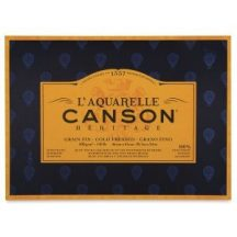 CANSON Héritage merített, savmentes akvarellpapír-tömb 640 gr, 100 % pamutból, (4 oldalt ragasztott)  12 ív, finom 26 x 36 cm